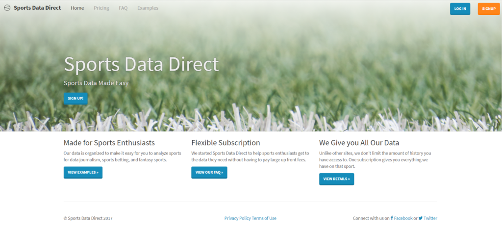 Sports Data Direct Cover Page
